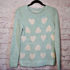 Lauren Conrad Green Fuzzy Heart Sweater